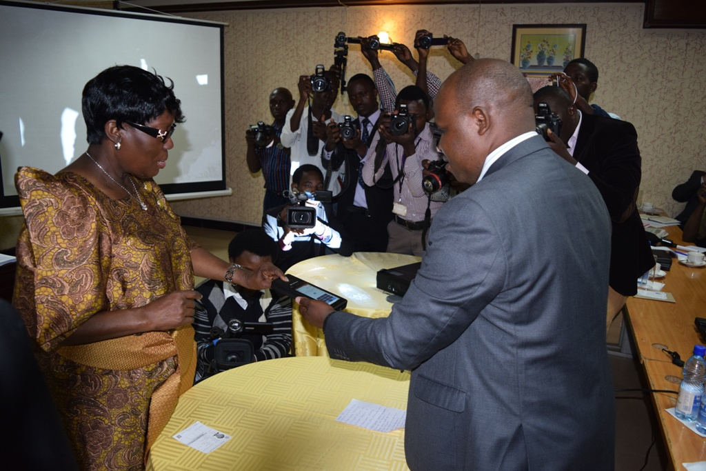 Hon. Speaker Rebecca Kadaga tries out the BVVS